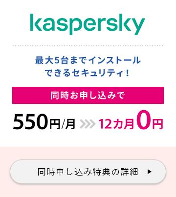 kaspersky 最大5台までインストールできるセキュリティ!同時お申し込みで通常月額550円>>>12カ月0円